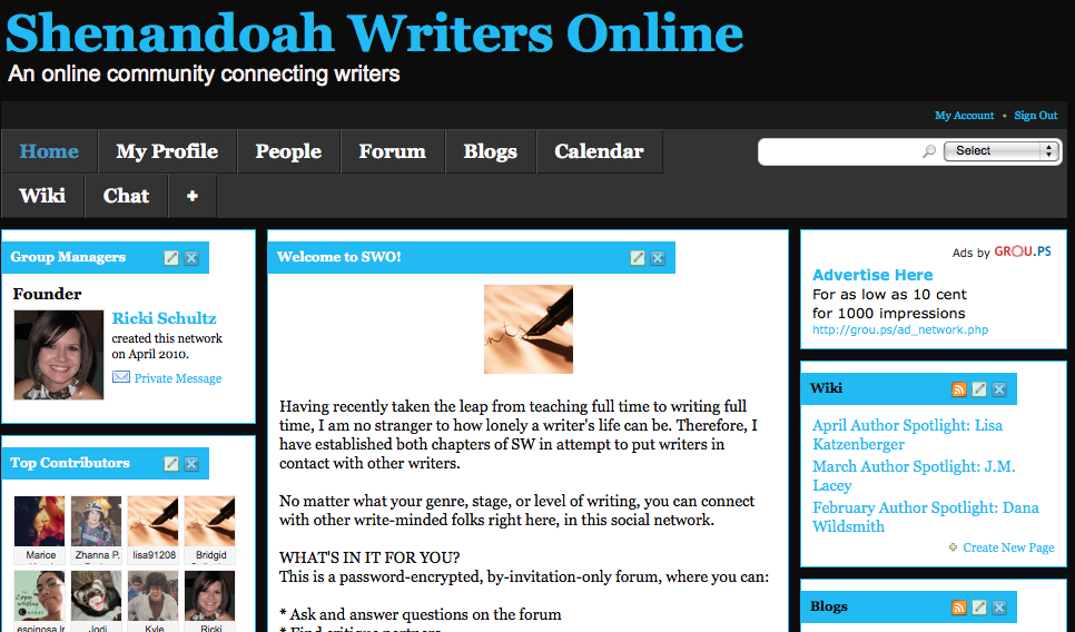 online writing group A writing community based in the united kingdom, with tips, forum and writing courses.